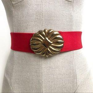 Vintage Brass Buckle Red Elastic Belt Size M